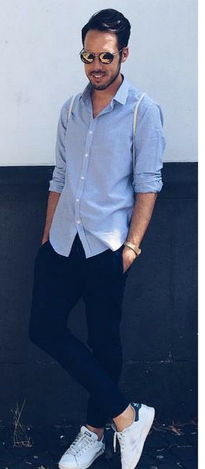 72e773e47e7 Light Blue Chambray Shirt + Navy Chinos + White Sneakers + Sunglasses.  Summer Outfit Ideas For Men