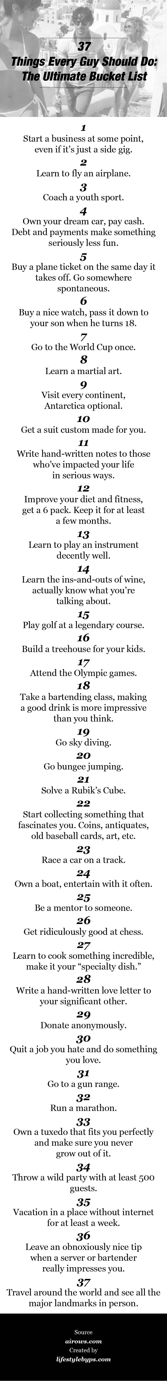 37 Things Every Man Should Do The Ultimate Bucket List