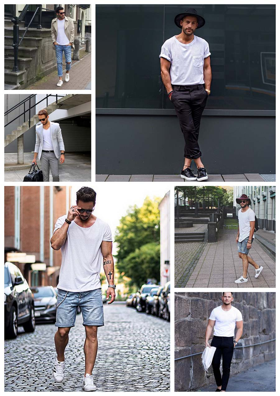 White tee collage