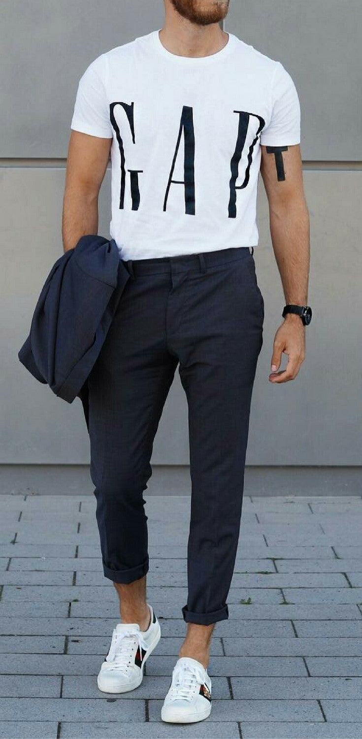 excellent outfit with white sneakers men