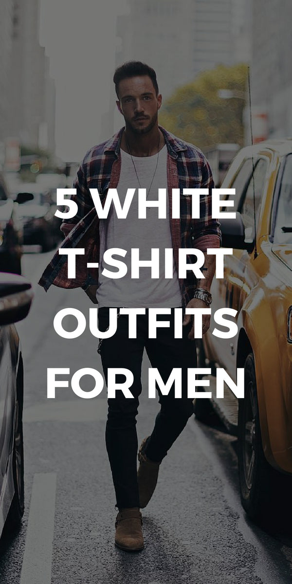5 Amazing White T-shirt Outfits For Men. #white #t-shirt #outfits #mens #fashion #street #style