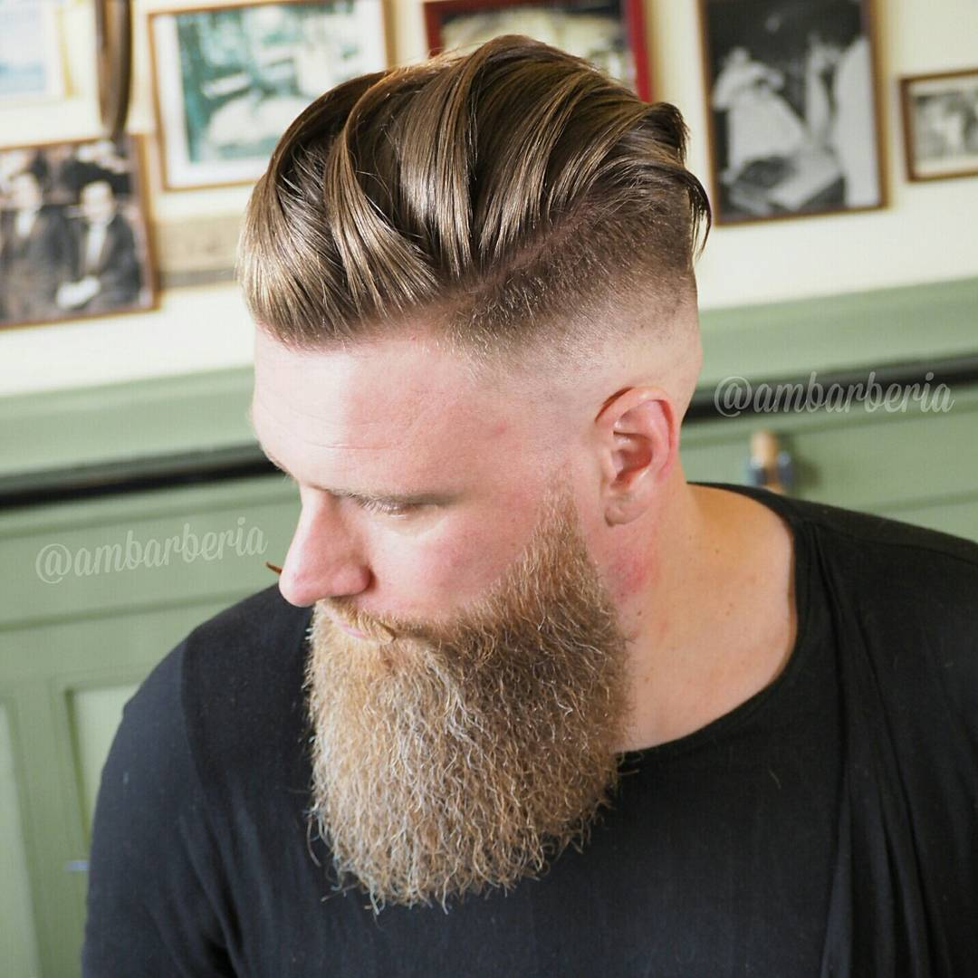 Undercut with Long Hair + Skin Fade + Beard