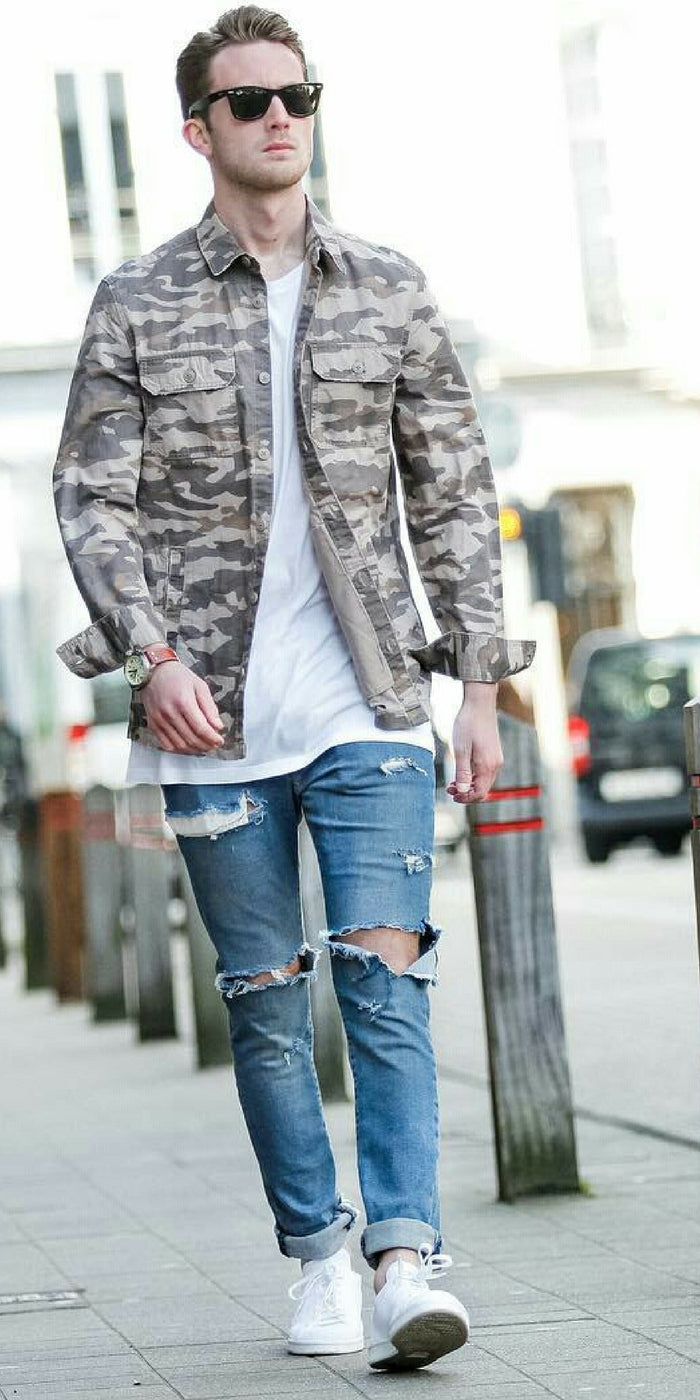 Blue Ripped Jeans Outfit