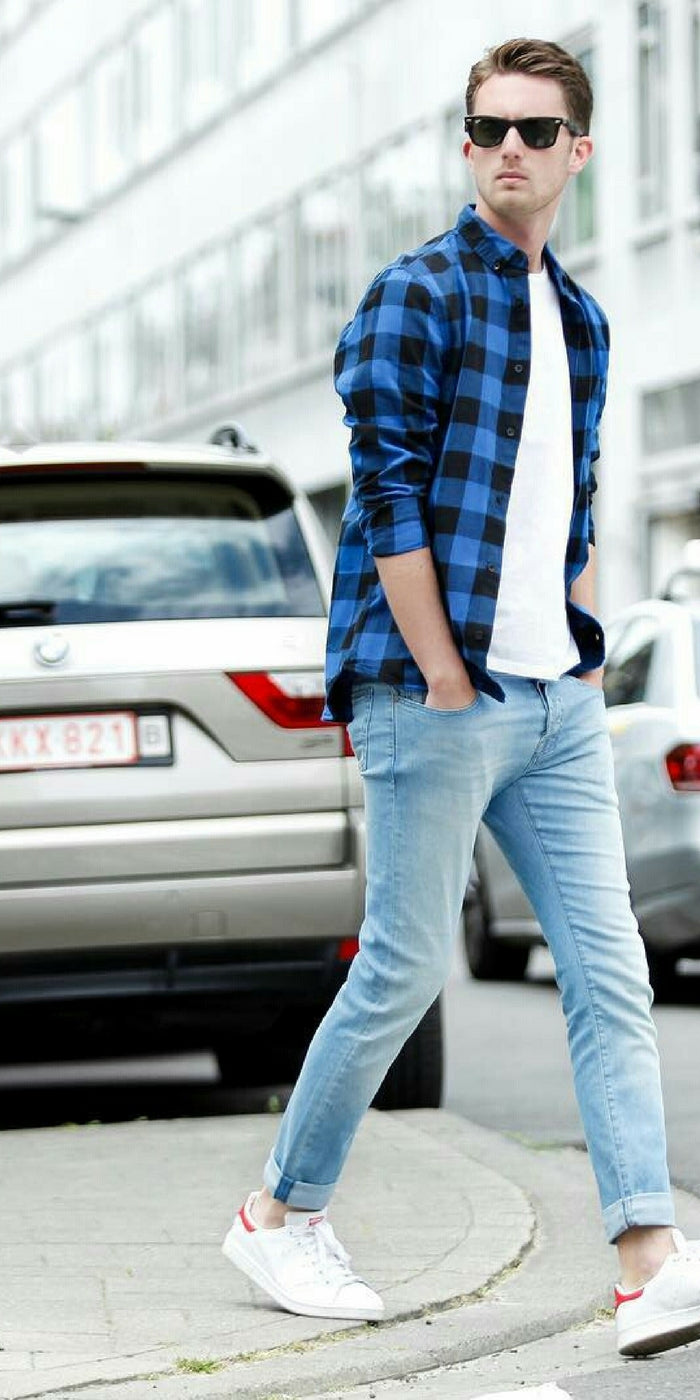 046e5536194 Nice Light Blue Jeans + White T-shirt + Blue Check Shirt. white t-shirt    jeans outfits for men