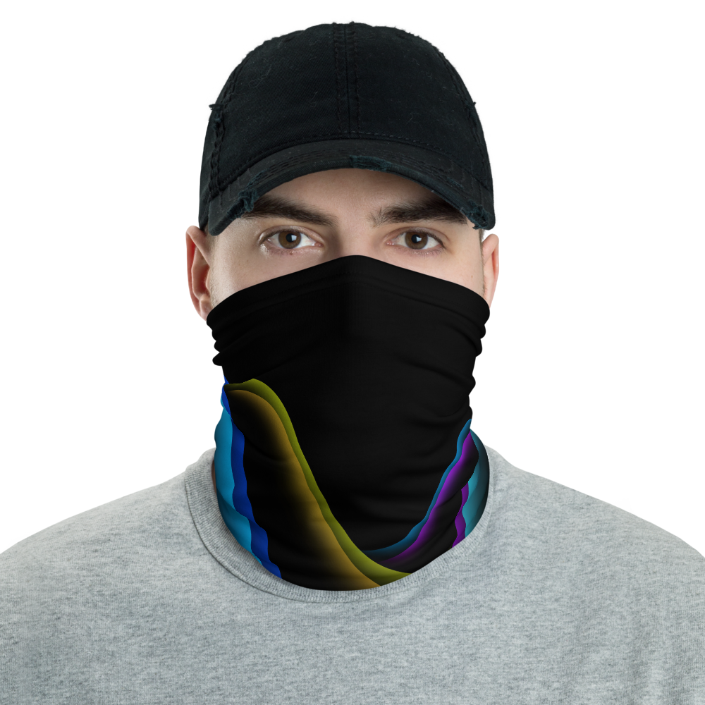 Stylish Face Mask + Headband In Neon Retro Wave Design
