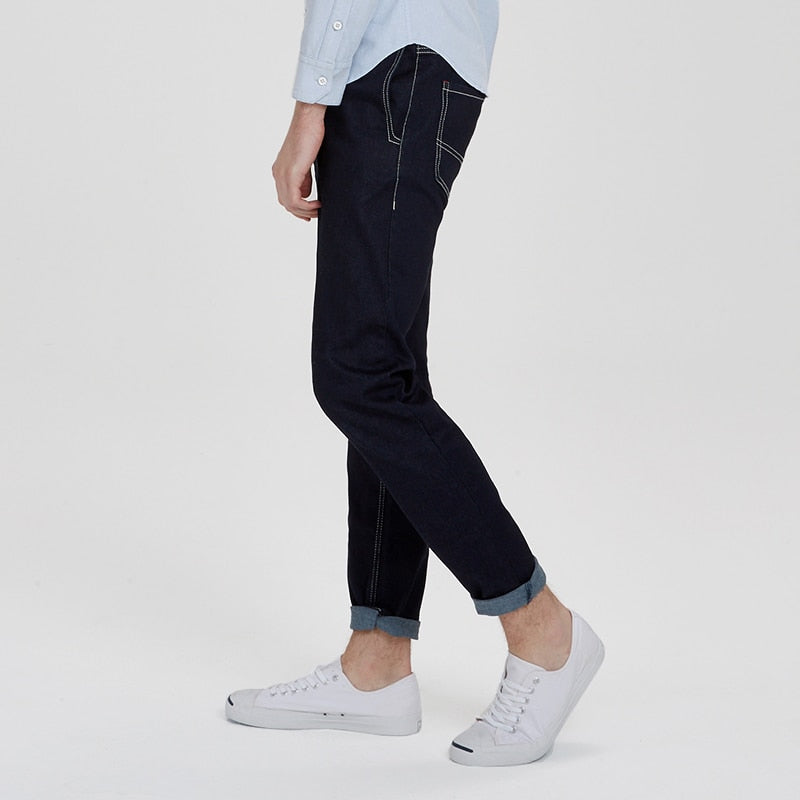 Tapered Fit Indigo Blue Jeans