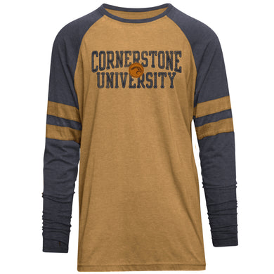 Camp David Men's Player Burnout Long Sleeve Tee, Gold/Navy