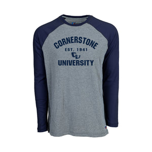 Russell Men's Long Sleeve Baseball Tee, Navy
