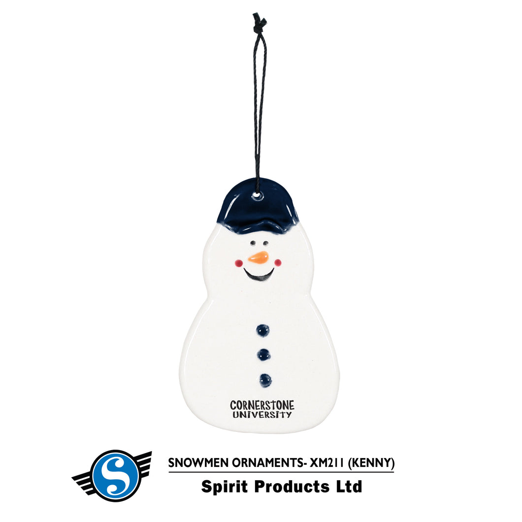 Spirit Kenny the Snowman Ceramic Ornament, Navy