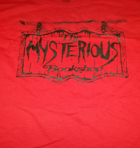 Mysterious Bookshop T-Shirt - Black on Red