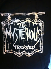 Mysterious Bookshop T-Shirt - White on Black