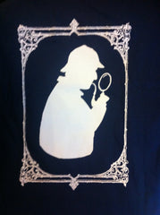 Sherlock T-Shirt - White on Navy.