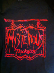 Mysterious Bookshop T-Shirt - Red on Black