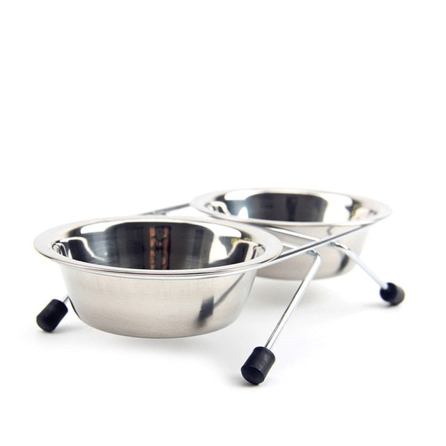 Stainless Steel Double Food Dish