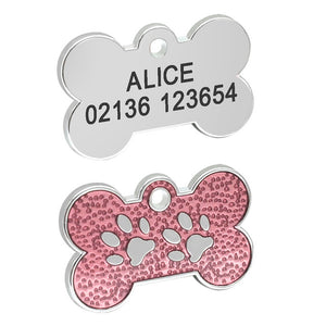 Personalized Graved Pendant Paw Glitter