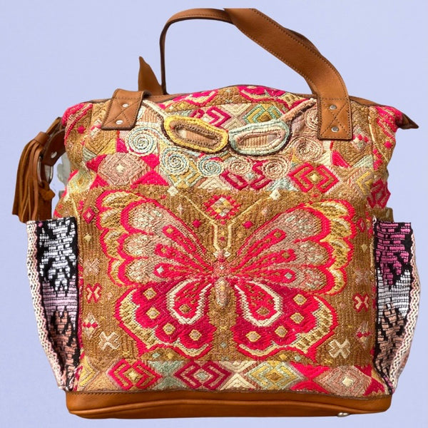 Guatemalan Huipil Bag Medium Vintage Butterfly with Xela leather