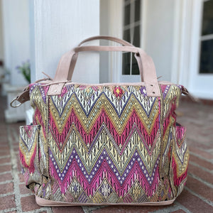 Pink and Cream Vintage Huipil and Legacy Leather Convertible Day Bag