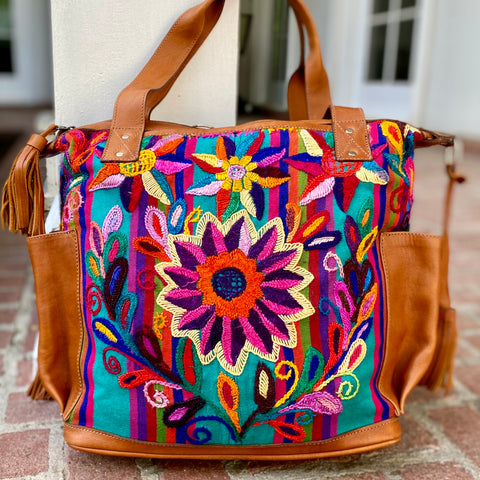 Guatemalan Huipil Bag Medium Teal Floral Convertible Day Bag