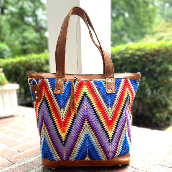 Newly Woven Coral Huipil and Leather Tote