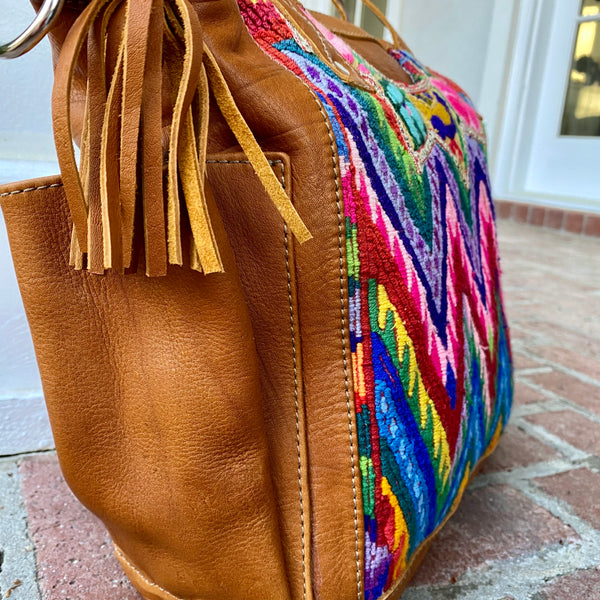 Small Vintage Huipil Bag with Xela leather