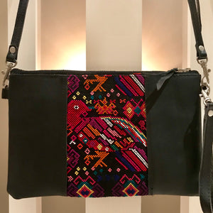 Huipil and Leather Small Muneca Crossbody Clutch-Las Bonitas Boutique