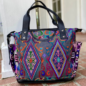Funky Convertible Day Bag with Black Xela Leather