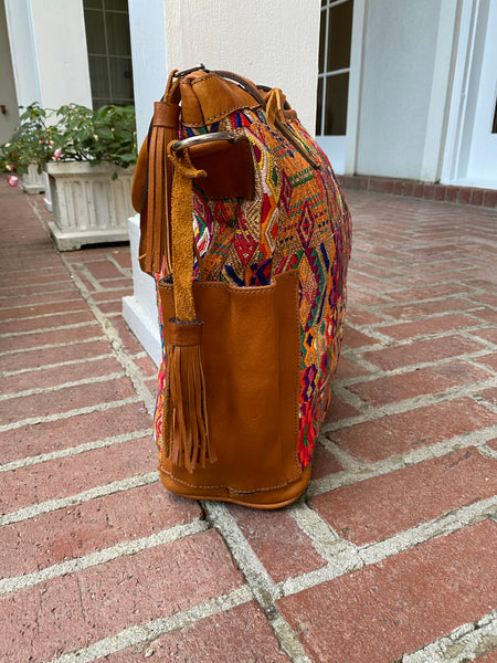 Genuine Leather and Vintage Huipil Tote-Style CDB