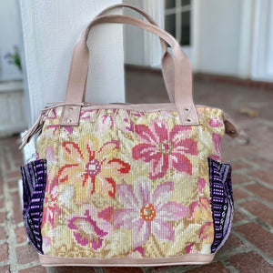 Pastel Floral Vintage Huipil and Legacy Leather Convertible Day Bag