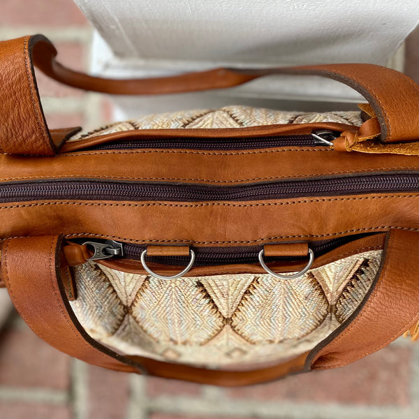 Cream Vintage Huipil and Xela Leather Convertible Day Bag