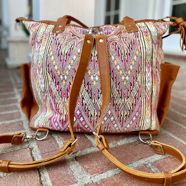 Guatemalan Huipil Bag is the Perfect Size for a Diaper Bag or Weekend Trip