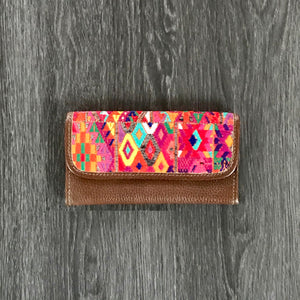 Leather Wallet with Boho Huipil-Las Bonitas Boutique