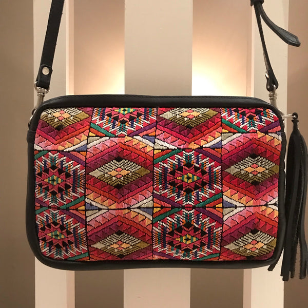 Fiesta Crossbody Purse with Huipil and Leather-Las Bonitas Boutique