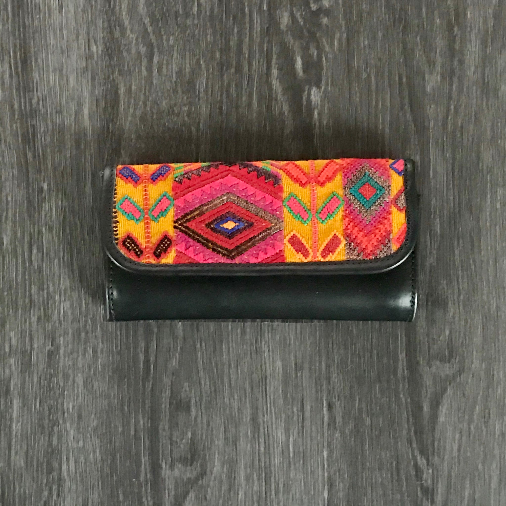 Leather Wallet with Wheat Huipil-Las Bonitas Boutique