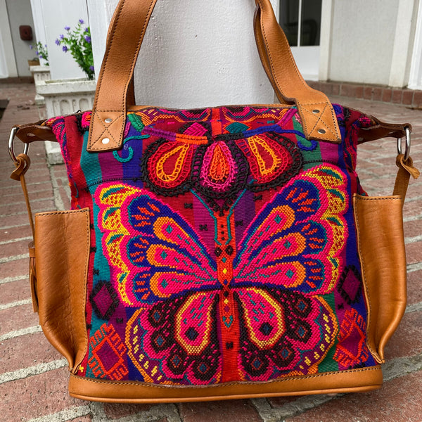 Guatemalan Huipil Bag Small Vintage Butterfly with Xela leather