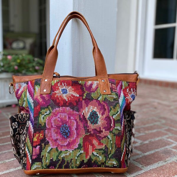 Fall Floral Convertible Day Bag with Xela Leather