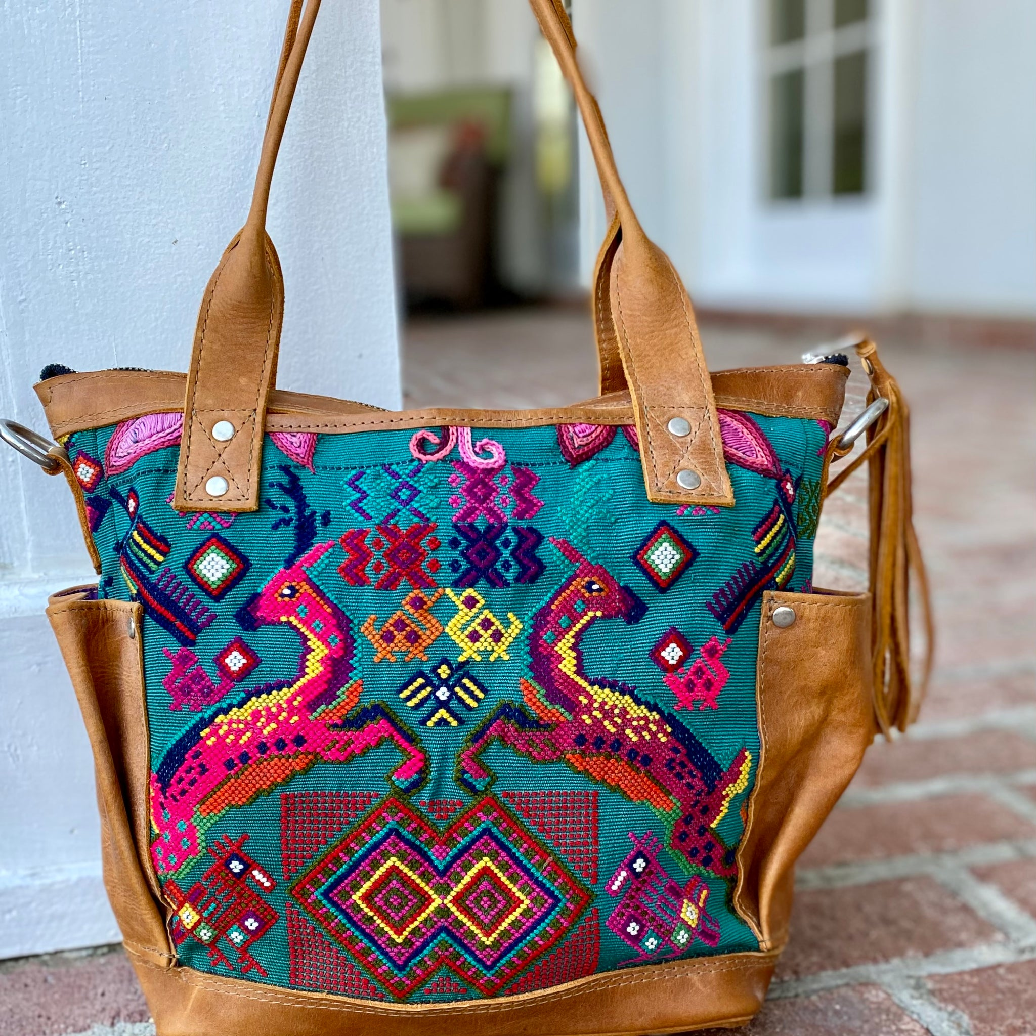 Vintage Deer Huipil Bag with Luxury Leather