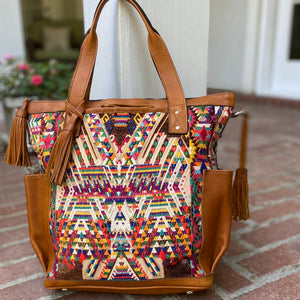 Antique Cream Geometric Huipil and Xela Leather CDB