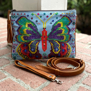 Mariposa Huipil and Xela Leather Crossbody and Wristlet