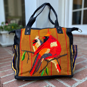 Medium Hand-Embroidered Cardinal and Black Leather CDB