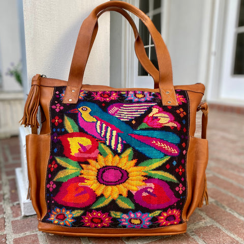 Guatemalan Huipil Bag Medium Bird Convertible Day Bag