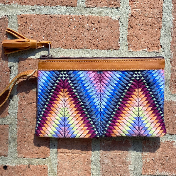 "Newly Woven W Huipil Clutch 9.5"" x 6"""