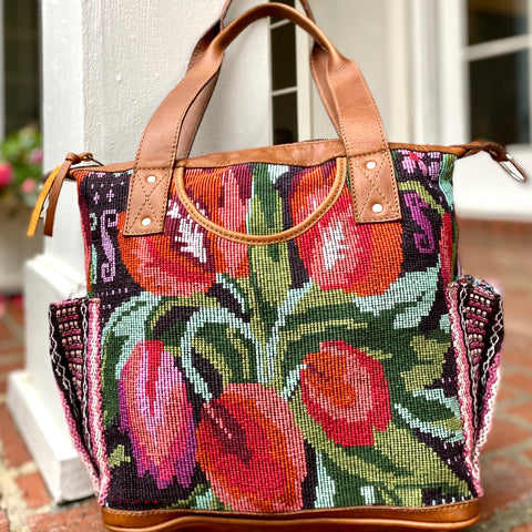 Small Vintage Tulip Huipil Bag