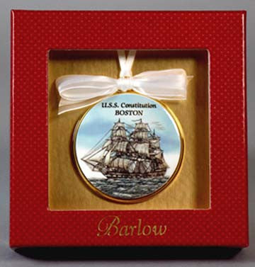 USS Constitution Under Sail Christmas Ornament