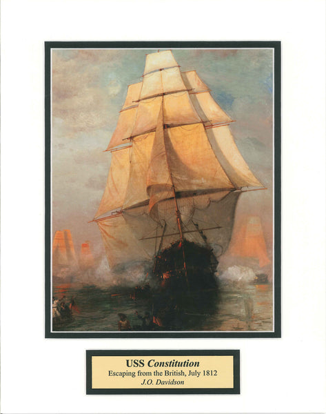 USS Constitution Escaping from the British, July 1812 by J.O. Davidson