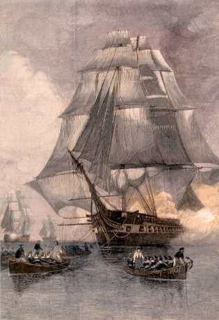 Escape of the Frigate Constitution after Three Day Chase by British Ships