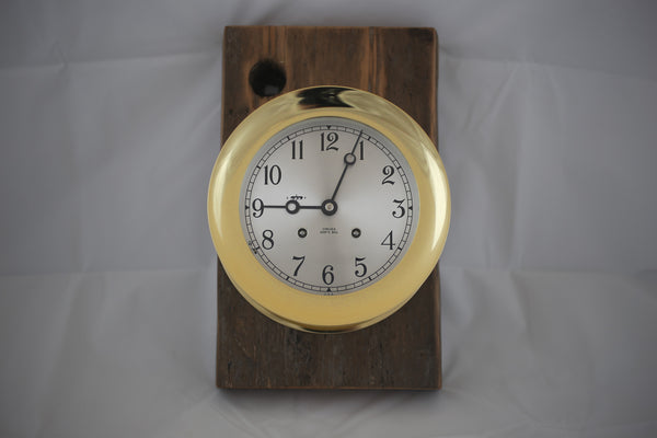 Brass Chelsea Clock Mounted on USS Constitution Wood