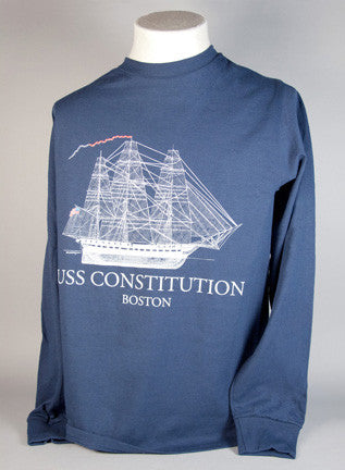 Navy Blue Sail Plan Long Sleeve T-Shirt