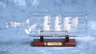 "USS Constitution Glass Boat in Bottle (2.5"" Frosted)"