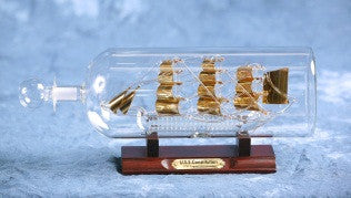 "USS Constitution Glass Boat in Bottle (4"" Gold or Frosted)"