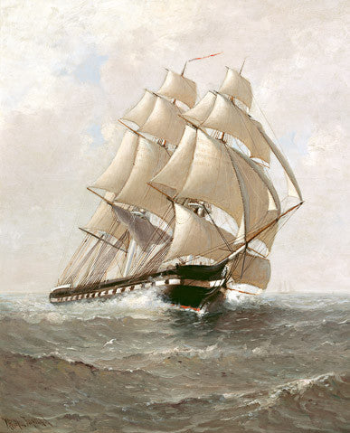 "Marshall Johnson ""USS Constitution"" Reproduction - Canvas 16"" X 20"""